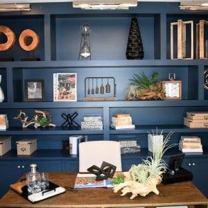 Custom WallOpenBookShelf Nantucket Cobalt None Maple