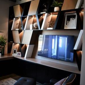 Custom Office Shelves Black RegalWhite None Maple Cabinets Horizon Black None Maple1